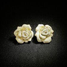 Boucles d'oreilles Clous Doré Gros Puces Fleur Rose Email Blanc Retro Class NN5