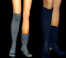 2 Flawed Slouch Socks Charcoal Navy Long Sexy Warm Comfy Scrunchie Soccer