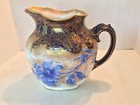 Royal Doulton Burslem Jug Pitcher Blue Flowers, Gold Trim, Good Condition