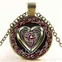 Vintage Celtic Heart  Photo Cabochon Glass Bronze Chain Pendant  Necklace