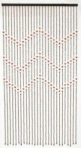 Zig Zag Brown Cream Orange 180 x 90cm Wooden Beaded Bamboo Door Curtain Blind