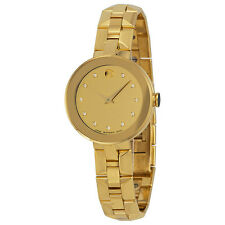 Movado Sapphire Champagne Dial Gold PVD Ladies Swiss Watch 0606816