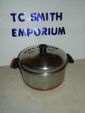 Pre-1968 Revere Ware Copper Bottom 6 Quart Stock Pot / Dutch Oven w/ Dome Lid