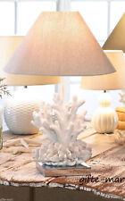 white brain Coral beach statue ocean nautical bedside end Table Lamp base shade