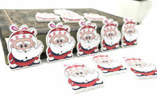 20 pcs Cartoon Santa Claus Wooden Buttons decoration Christmas  Sewing 35mm
