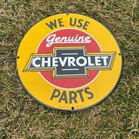 "VINTAGE ""CHEVROLET SERVICE GENUINE PARTS"" PORCELAIN METAL GAS AND OIL PUMP SIGN!"