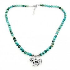 Southwestern Turquoise Necklace with Sterling Silver Horse Pendant