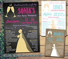 10 Hen Night Party Weekend Invitations Itinerary Birthday Chalkboard Bride Chalk