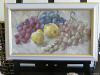 FRUITS STILL LIFE OIL CANVAS ORIGINAL PAINTING RUSSIAN ART FRAMED SIGNED LISTED