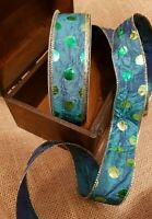 DOTTY ABOUT PEACOCKS creased green blue & gold - Luxury Wire Edge Ribbon