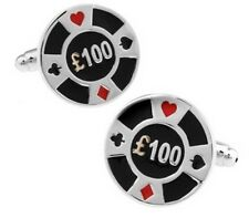 High Quality Cufflinks £100 Casino Poker Chip silver Colour Cuff link Game Chips