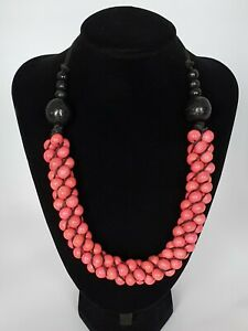 Stunning Pink Wooden Beaded Necklace