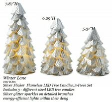 Winter Lane Silver Flameless LED Tree Candles, 3-Piece Set