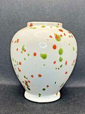Vintage 1980's-90's Hobbyist Ceramic Pottery Speckled Glaze Vase Signed MCM