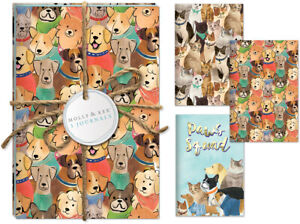 Punch Studio Molly & Rex E8 Pet Lovers Cats & Dogs Twine Journal Trio Set 38662