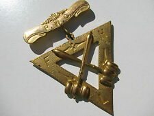 ANTIQUE JUDGE  P.W.C. F H L GAVEL TRIANGLE BRASS METAL ETCHED BROOCH C CLASP