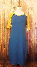 LuLaRoe Julia 2XL Solid Blue Yellow XXL Bodycon Dress Baseball Raglan Sleeve NWT