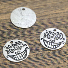 15pcs We're All Mad Here Charms silver tone Cheshire Cat Grin Pendants 20mm