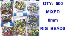 500 MIXED 8mm RIG BEADS FOR SEA BOAT ROD FISHING LINE BAIT CLIP EASY LINK RIGS