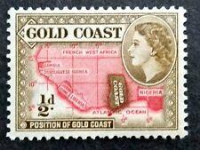 British Gold Coast 1952-54 Queen Elizabeth II 1/2d Map Of West Africa - 1v MLH#2