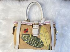 Coach 4439 Ladybug Boxy Tote Bag Burlap Leather Applique