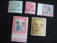 Bahamas 1918 War Tax, set of 5, mounted mint