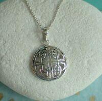 Sterling Silver Celtic Shield Disc Pendant Necklace - UK Seller
