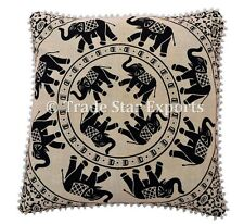 Indian Elephant Euro Sham Cushion Cover 26x26 Mandala Square Throw Pillow Cases