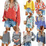 Women Floral Printed Long Sleeve V-Neck T-Shirt Boho Blouse Casual Baggy Top Tee