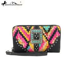 Montana West Buckle Collection Wallet Pink W/Turquoise Indian bead Buckle - NWT-