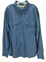 COLUMBIA Titanium Blue Long Sleeve Button Up Casual Shirt Mens Size XL Nylon