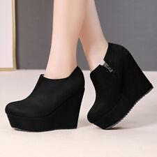 Women's Ankle Chelsea Boots Platform Side Zipper Suede Wedge Heels Booties US 6