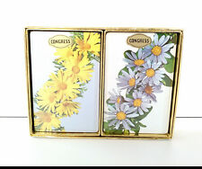 VTG CONGRESS PLAYING CARDS FLOWERS Blue Yellow Daisies 2 SEALED Decks Cel-U-Tone