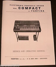 Service & Operating Manual for FARFISA COMPACT Portable Organ Tuning, Schematics