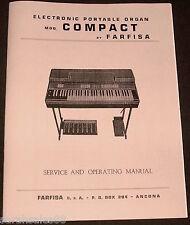 Service & Operating Manual for FARFISA COMPACT Portable Organ Tuning, Schematics