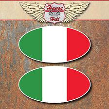 ITALIA BANDIERA ADESIVI OVALI x2 80x41mm Vespa Scooter Moto/Motocicletta Decalcomania