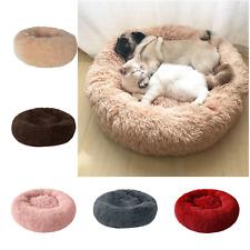 Donut Plush Pet Dog Cat Bed Fluffy Soft Warm Calming Fur Sleeping Kennel Nest US