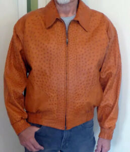 AUTHENTIC OSTRICH LEATHER MEN'S BOMBER JACKET CUSTOM MADE SIZE 46