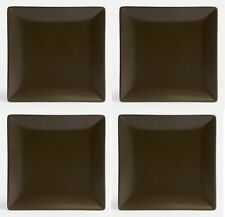4X Square starter dinner plates chocolate 24cm stoneware porcelain