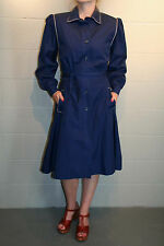 S NAVY Blue VTG 70s 80s does 40s PUFF SLV Plaid ZIP OUT KNIT LINER TRENCH  COAT