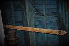 Primitive Wooden Tobacco Lath Peg Hanger / Candle Hanger Rusty Nails Folk Art