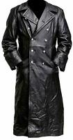 MEN'S CLASSIC OFFICER MILITARY BLACK LEATHER GERMAN TRENCH COAT