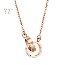 TTstyle Stainless Steel Interlocking Circles Pendant Silver/Rose Gold NEW