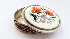 Vintage Soviet Silverplate Ceramic Filigree Vanity Face Puff Powder Box Compact
