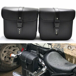2 PCS Waterproof Motorcycle PU Leather Saddle Bags Storage Tool Pouch Left&Right