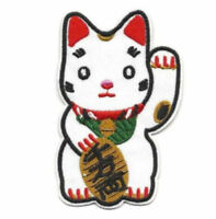 "Maneki Neko Iron On Patch 3.5"" Lucky Waving Cat Red White Embroidered Applique ♫"