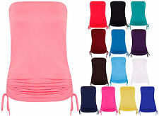 Womens New Strapless Side Tie Ruched Ladies Boob Tube Bandeau Vest Top Plus Size