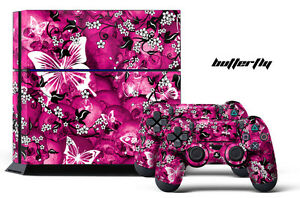 Designer Skin for PS4 Playstation 4 Console System + Controllers BUTTERFLY SKULL