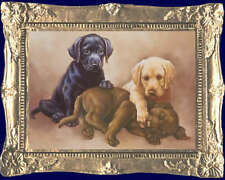 3 RETRIEVER PUPPIES Dollhouse Picture - FRAMED Miniature Art - MADE IN AMERICA