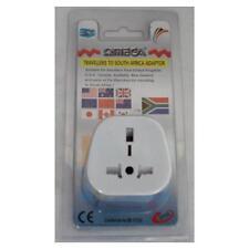 Omega 21122 Travel Plug Converter Adaptor South Africa Mains UK 3 Pin 13A White